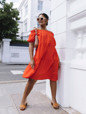 Red Bardot Short Sleeve Midi Dress