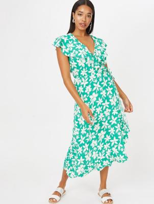 Green Floral Print Midi Wrap Dress