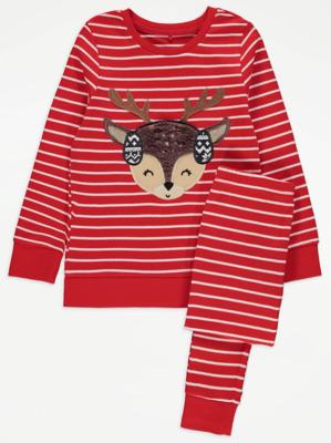 Red Striped Reindeer Christmas Pyjamas
