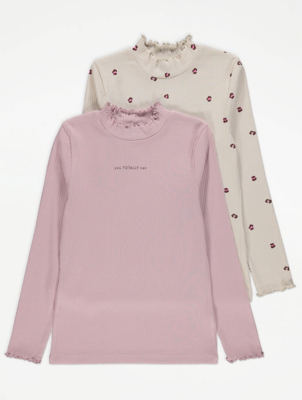 Printed Long Sleeve Roll Neck Tops 2 Pack