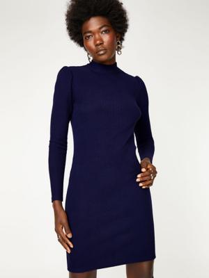 Navy High Neck Ribbed Jersey Dress
