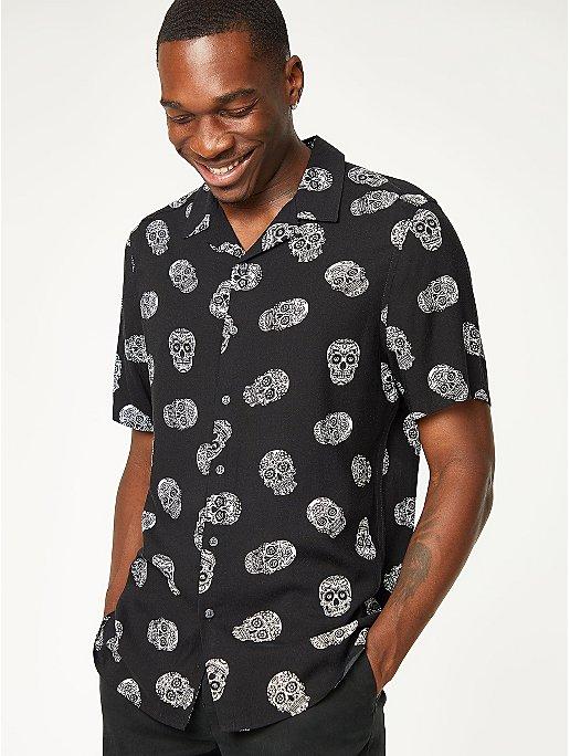 Halloween Black Skull Print Shirt