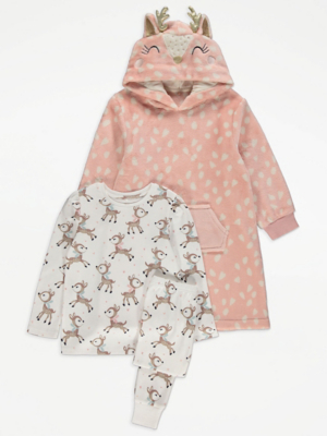 Reindeer Print Pyjamas and Hooded Dressing Gown