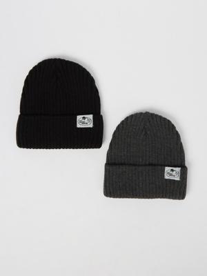 Mountain Adventure Rib Knit Beanie Hats 2 Pack