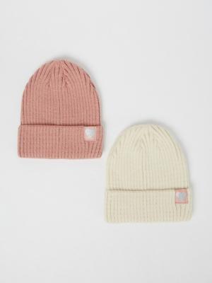 Heart Appliqué Detail Beanie Hats 2 Pack