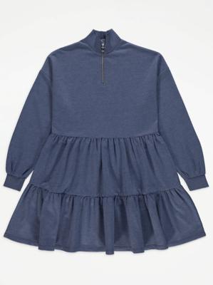 Navy Zip Neck Tiered Sweatshirt Dress