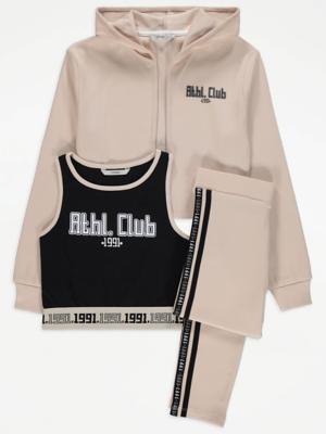 Beige Slogan Hoodie Crop Vest Top and Leggings Outfit