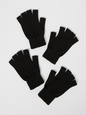 Black Fingerless Gloves 2 Pack