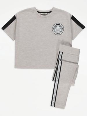 Cream Marl Gamer Logo Print T-Shirt and Leggings Outfit