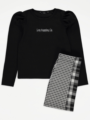 Black Check Skirt and Top Outfit