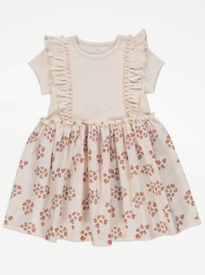 Cream Animal Print Ruffle Dress
