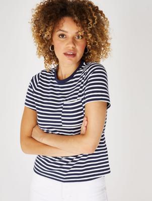 Stripe Print Pocket T-Shirt