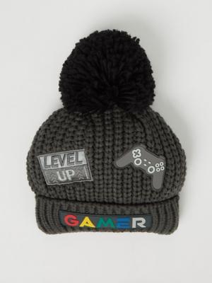 Charcoal Gamer Bobble Hat