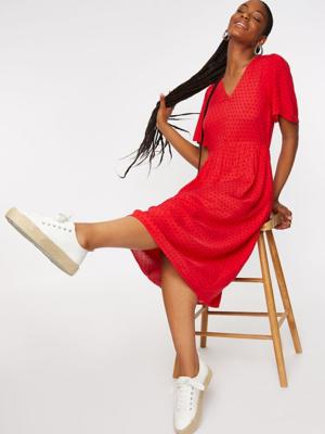 Red Polka Dot Print Midi Dress