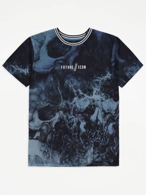 Future Icon Slogan Marbled T-Shirt