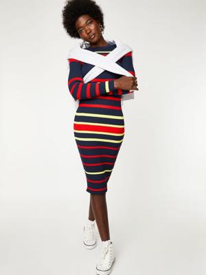 Navy Striped Rib Knit Midi Dress