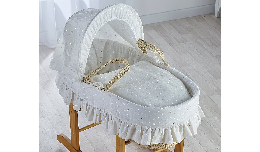 Cream Broderie Anglaise Moses Basket
