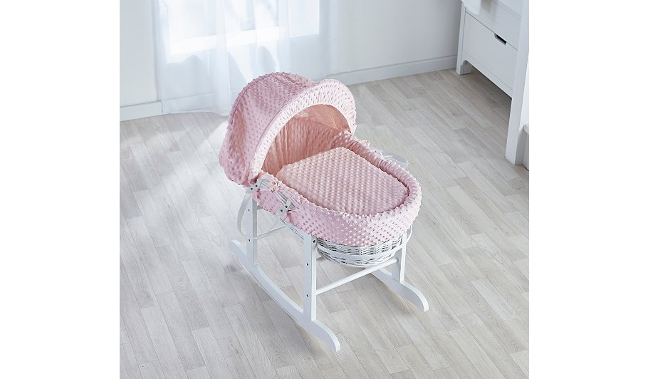 Kinder Valley Pink Dimple White Wicker Basket