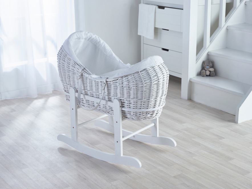 Kinder Valley White Waffle White Wicker Pod Baby George