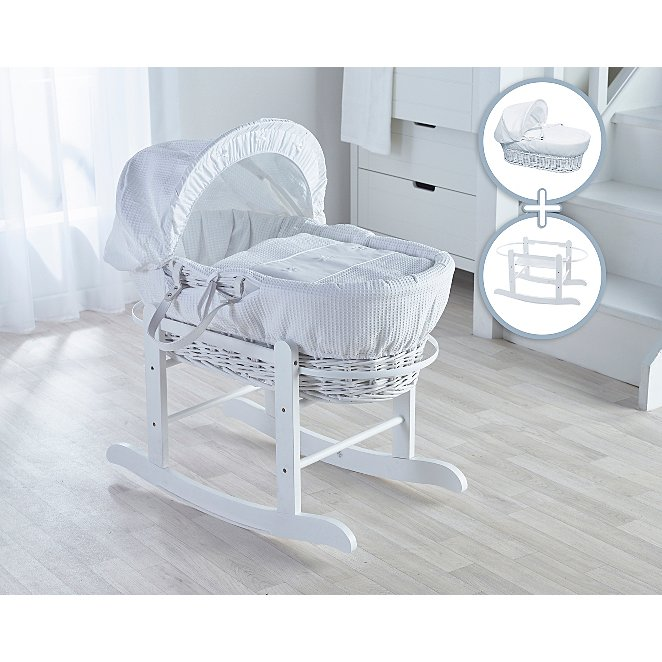 pas cher pour réduction f862b 85846 White Wicker Basket with Rocking Stand