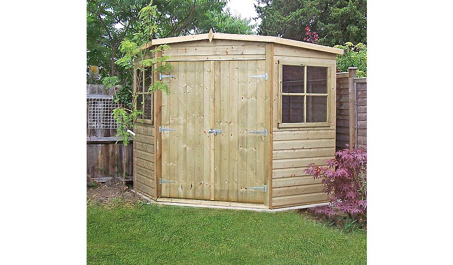 Fairwood 8x8 pressure treated corner shed home garden for Garden shed 8x8