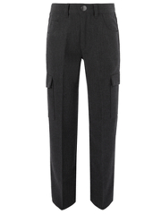 Boys School Slim Fit Cargo Trousers - Charcoal