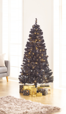 6ft Black Pre Lit Led Christmas Tree
