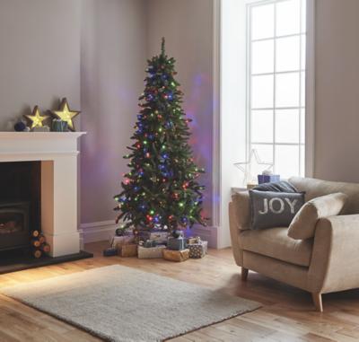 Multi Coloured Pre Lit 7 5ft Pine Christmas Tree