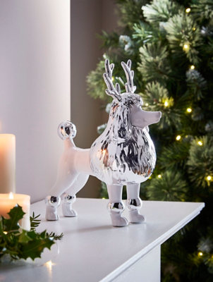 White Poodle Christmas Ornament