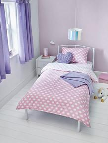 Pink Cloud Print Easy Care Reversible Duvet Set - Single