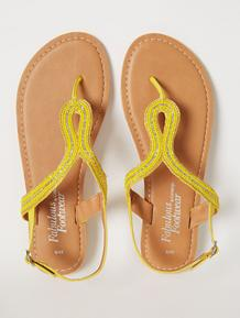 Yellow Leather Beaded Toe Post Slingback Sandals