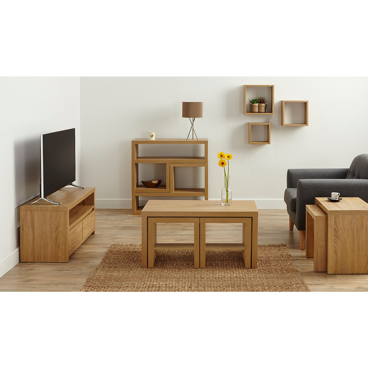 Oak effect living room furniture sets living room for Apartment furniture sets
