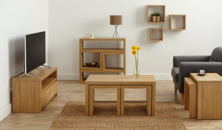 Leighton Living Room Furniture Range - Oak Effect