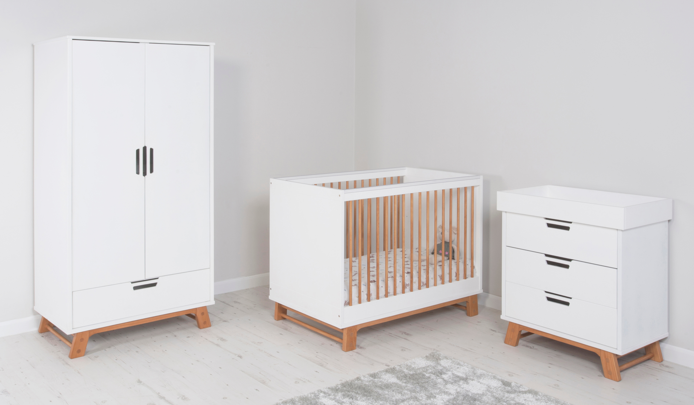 alfie nursery furniture range - oak effect and white | bedroom