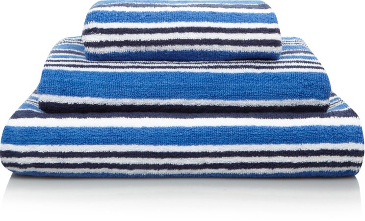 100% Cotton Blue Striped Towel Range