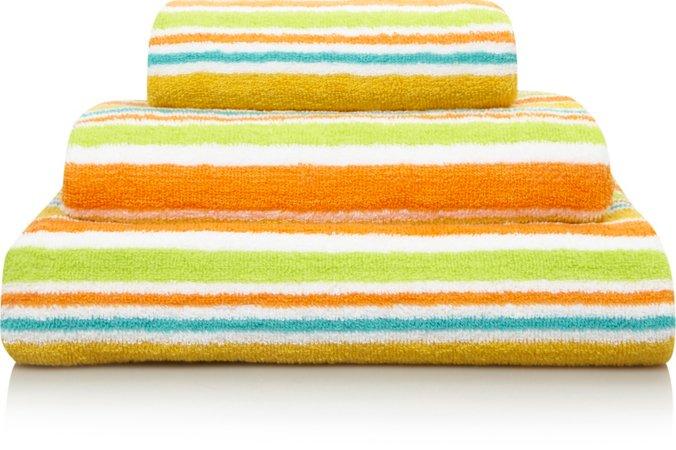 100% Cotton Bright Striped Towel Range