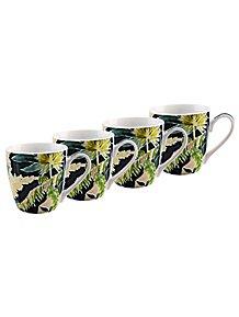Set of 4 Polka Dot Coffee Cups 300 ml Stoneware Multi Colour London Pottery Tea Mug Set