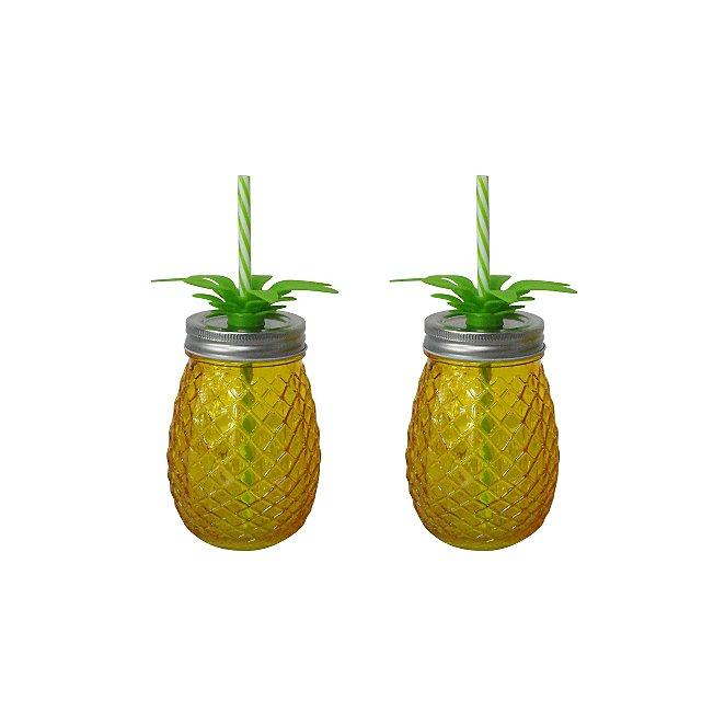 Yellow Pineapple Shaped Mason Jar 2 Pack