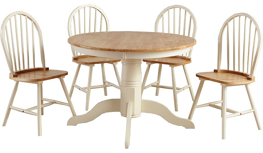 george home yvette circular dining table and 4 chairs oak effect and cream dining tables chairs george at asda - Cream Kitchen Tables