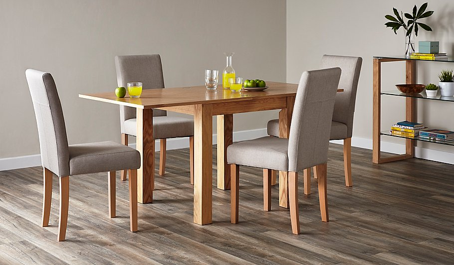 flip top ash dining table and 4 upholstered chairs oak view all george at asda. Black Bedroom Furniture Sets. Home Design Ideas