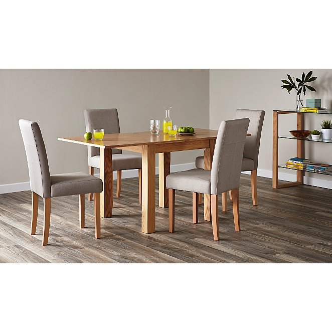 Flip Top Ash Dining Table And 4 Upholstered Chairs Oak View All