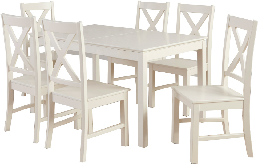 george home gilmore extending dining table and 6 chairs cream