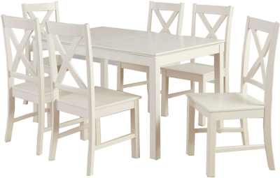 George Home Gilmore Extending Dining Table and 6 Chairs - Cream | Modern Country Trend | George at ASDA  sc 1 st  George - Asda.com & George Home Gilmore Extending Dining Table and 6 Chairs - Cream ...