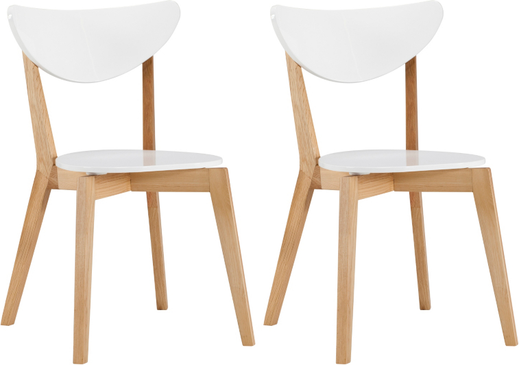 brooklyn pair of dining chairs - oak and white   dining tables