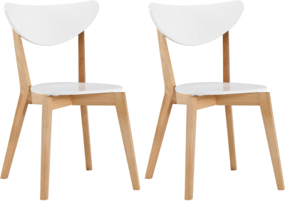 brooklyn pair of dining chairs oak and white