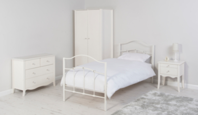 Tia Crystal Effect Bed Ivory Finish Kids Beds George at ASDA