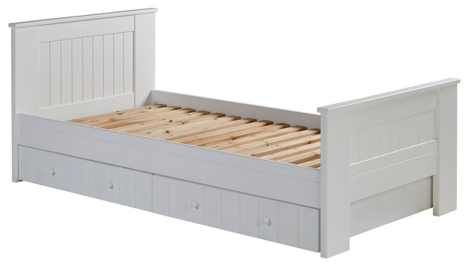 Finley Single Bed with Storage - White | Furniture | George at ASDA