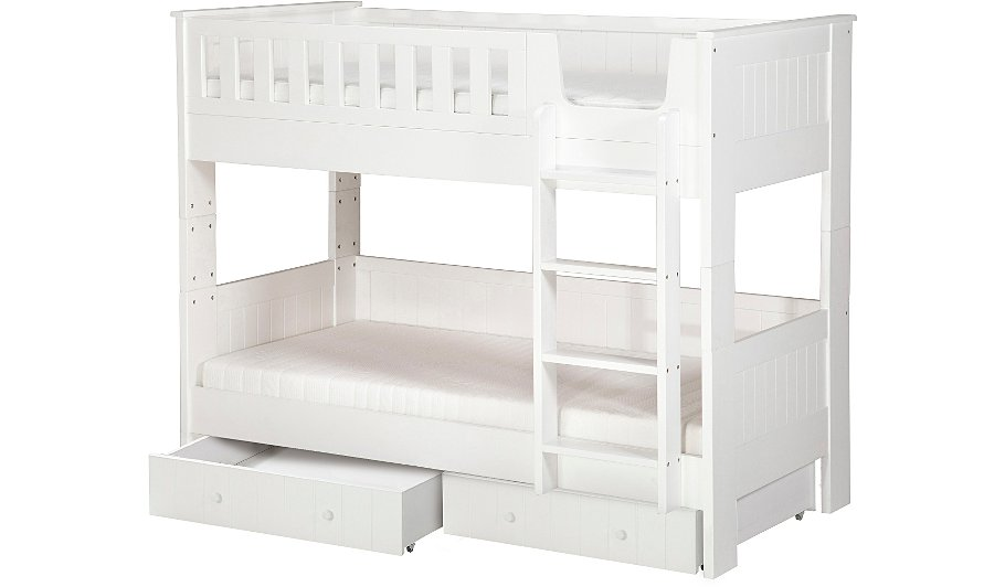 Finley Detachable Bunk Bed With Storage White Kids Beds George At Asda