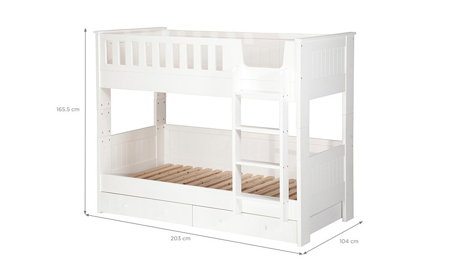 Finley detachable bunk bed with storage white kids for Detachable bunk beds