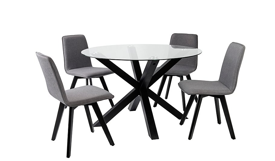 winston round dining table and 4 chairs black dining tables chairs george at asda - Black Dining Table And 4 Chairs
